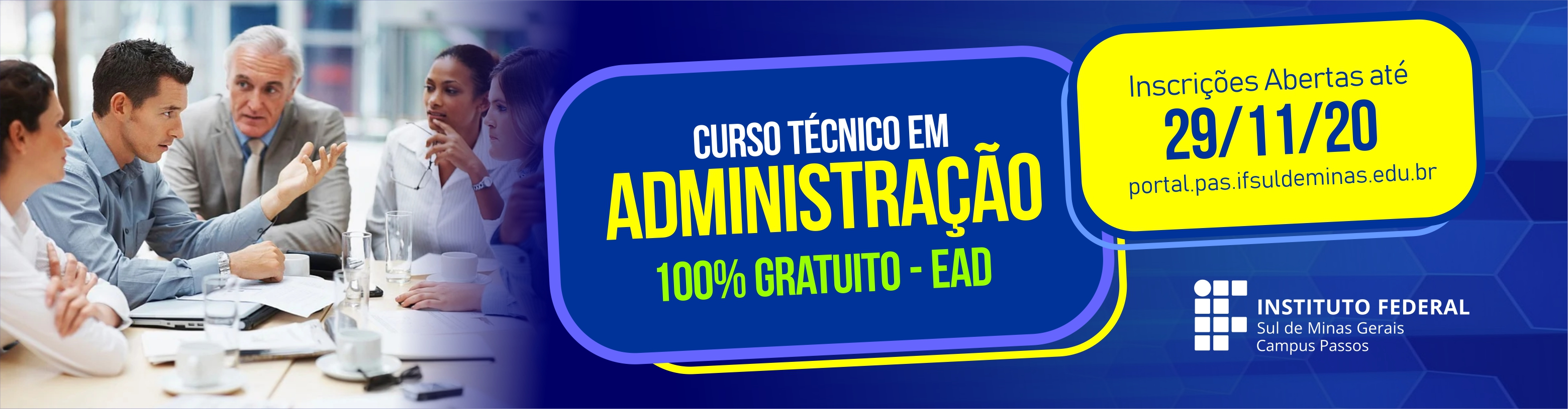 Inscrições, até 29/11, para o curso técnico em Administração EaD